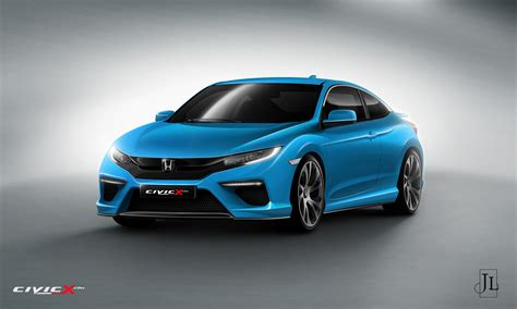 2017 Honda Civic Coupe Rendered in Vanilla and Super-Hot