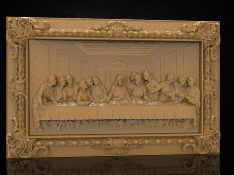 The Last Supper w Frame 3D STL File Model for CNC Router